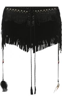 Замшевые мини-шорты с кожаной бахромой Roberto Cavalli