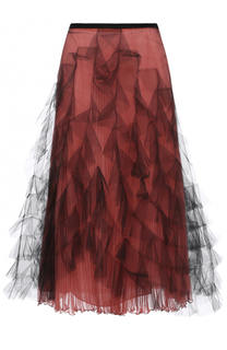 Шелковая плиссированная юбка с сетчатой отделкой Valentino