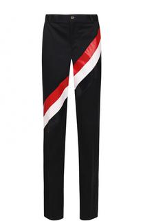 Хлопковые брюки прямого кроя с контрастной отделкой Thom Browne