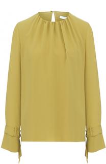 Блуза прямого кроя с круглым вырезом и защипами HUGO