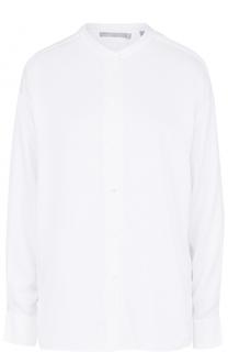 Шелковая блуза свободного кроя с воротником-стойкой Vince