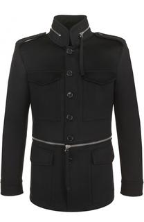 Однобортное пальто из смеси шерсти и кашемира с воротником-стойкой Alexander McQueen
