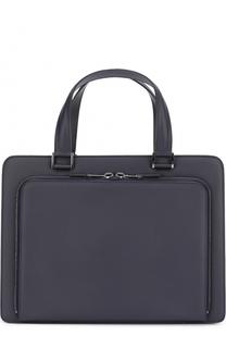 Кожаный портфель с внешним карманом на молнии Pal Zileri