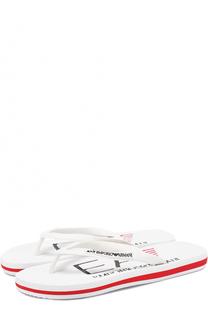 Резиновые шлепанцы с логотипом бренда Emporio Armani