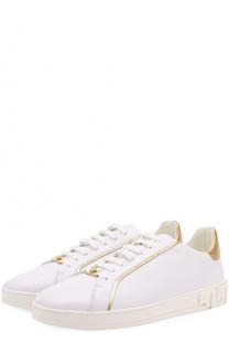 Кожаные кеды на шнуровке с контрастной отделкой Versace