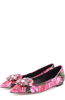 Балетки Bellucci с цветочным принтом и брошью Dolce & Gabbana