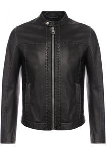 Кожаная куртка на молнии с контрастной прострочкой Dolce & Gabbana