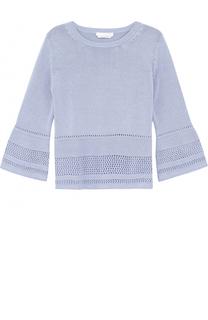 Пуловер с укороченными рукавами и перфорацией HUGO