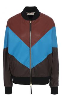 Кожаная куртка-бомбер на молнии Marni