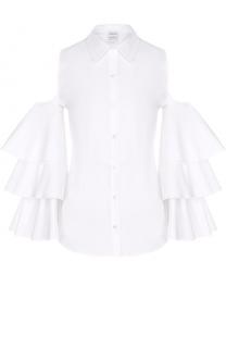 Блуза с открытыми плечами и оборками на рукавах sara roka