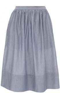 Хлопковая юбка-миди в полоску Vince