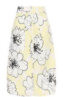 Хлопковая юбка-миди с цветочным принтом Marni