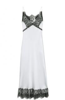 Шелковое платье-макси с кружевной отделкой Natasha Zinko