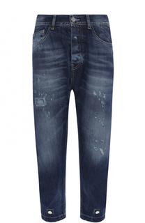 Укороченные джинсы с потертостями Frankie Morello