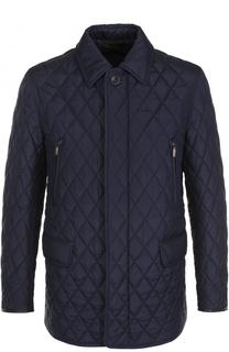 Удлиненная стеганая куртка на молнии с отделкой из натуральной кожи Brioni