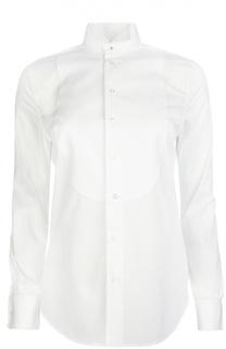 Фактурная блуза с манишкой и воротником-бабочка Ralph Lauren
