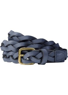 Плетеный кожаный ремень (темно-синий) Bonprix