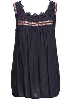 Блузка с кружевной отделкой (темно-синий) Bonprix
