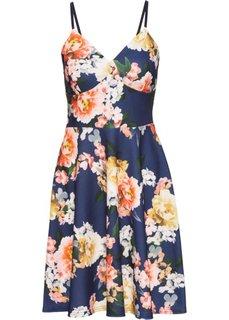 Трикотажное платье на тонких бретелях с цветочным принтом (синий в цветочек) Bonprix