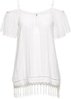Блузка с вырезами на плечах (кремовый) Bonprix