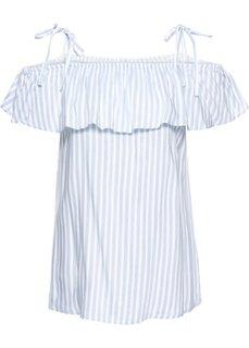 Полосатая блузка с вырезом-кармен (синяя пудра/кремовый в полоску) Bonprix
