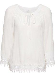 Блузка с кружевной отделкой (кремовый) Bonprix