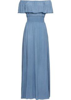 Длинное платье с вырезом-кармен (нежно-голубой) Bonprix