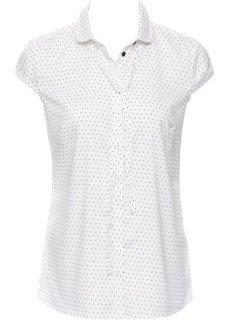 Блузка с принтом и коротким рукавом (цвет белой шерсти/черный в горошек) Bonprix