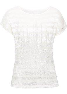 Плиссированная футболка с кружевом и металлическим отливом (кремовый/серебристый) Bonprix