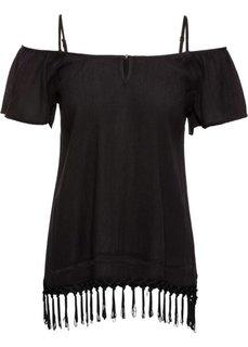 Блузка с вырезами на плечах (черный) Bonprix