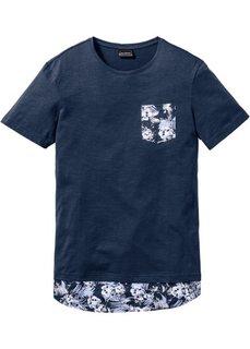 Длинная футболка Regular Fit (темно-синий) Bonprix