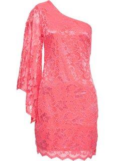 Кружевное платье на одно плечо (коралловый) Bonprix