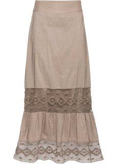 Длинная юбка с кружевной отделкой (серо-коричневый) Bonprix