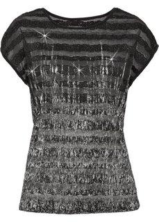 Плиссированная футболка с кружевом и металлическим отливом (черный/серебристый) Bonprix