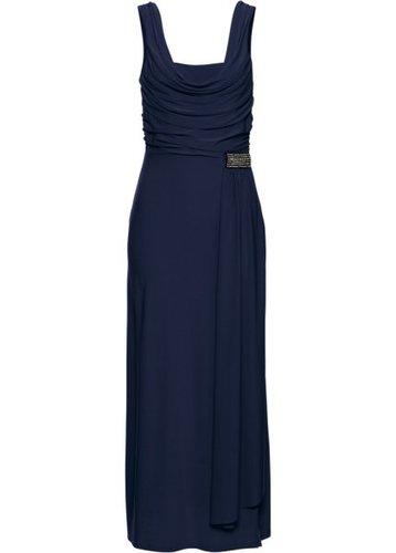 Трикотажное платье с вырезом-хомут (темно-синий)