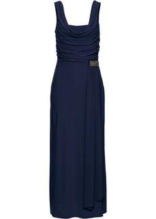 Трикотажное платье с вырезом-хомут (темно-синий) Bonprix