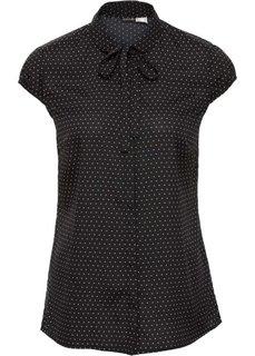 Блузка с принтом и коротким рукавом (черный/цвет белой шерсти в горошек) Bonprix
