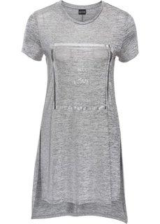 Блестящая футболка с принтом (серый/серебристый с рисунком) Bonprix