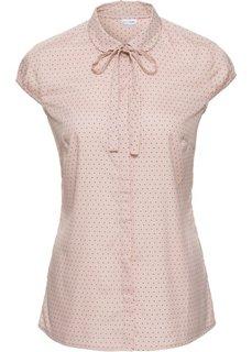 Блузка с принтом и коротким рукавом (бежевый матовый/черный в горошек) Bonprix