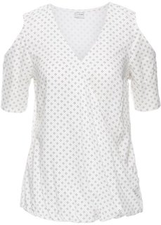 Блузка с вырезами и принтом (цвет белой шерсти/черный с рисунком) Bonprix