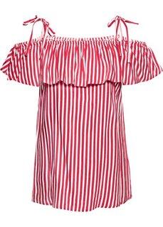 Полосатая блузка с вырезом-кармен (красный/кремовый в полоску) Bonprix