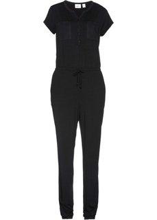 Непринужденный комбинезон с коротким рукавом (черный) Bonprix