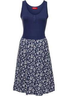Трикотажное платье с принтом (индиго) Bonprix