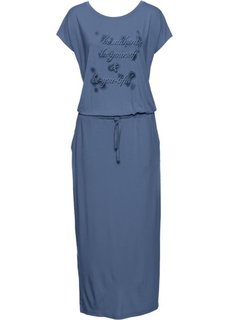 Трикотажное платье с принтом и коротким рукавом (индиго) Bonprix