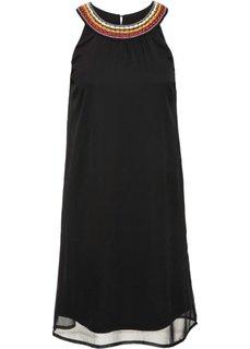 Платье из жатого материала (черный) Bonprix