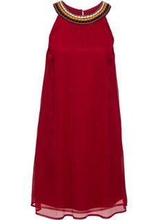 Платье из жатого материала (темно-красный) Bonprix