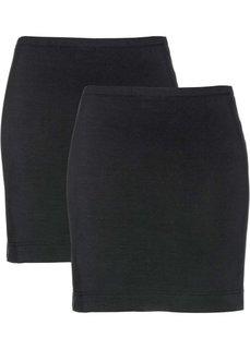 Мини-юбка стретч (2 шт.) (черный + черный) Bonprix