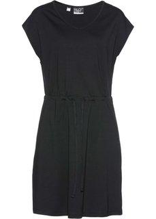 Трикотажное платье стретч с тропическим принтом (черный) Bonprix