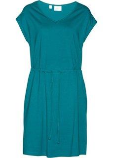 Трикотажное платье стретч с тропическим принтом (бирюзовый) Bonprix