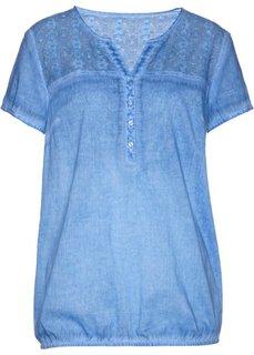 Блузка с кружевной отделкой и коротким рукавом (голубой) Bonprix